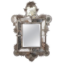 19th Century Venetian Mirror Profusely Decorated with Floral Motifs