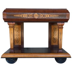 1830s French Empire Marquetry Console Table in Rosewood and Maple