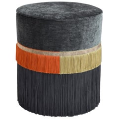 Couture Gray Pouf with Line Fringe by Lorenza Bozzoli Design