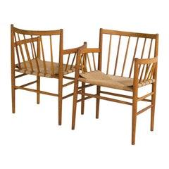 Midcentury Danish Pair of Chairs J81 by Jørgen Baekmark for FDB