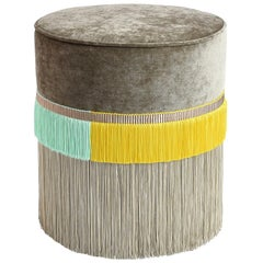 Couture Beige Pouf with Line Fringe by Lorenza Bozzoli Design