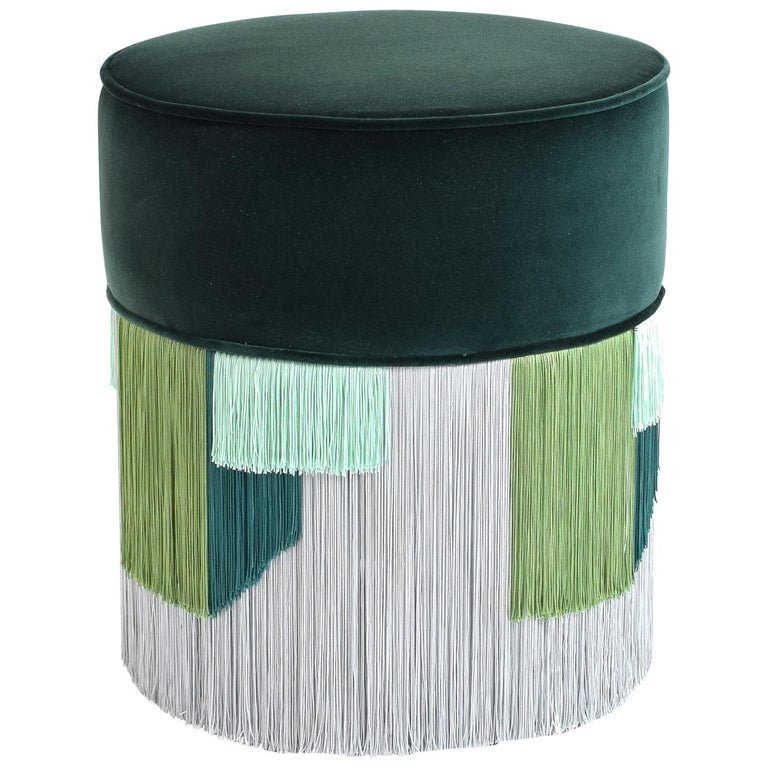 Couture Dark Green Pouf with Geometric Fringe by Lorenza Bozzoli Design For Sale