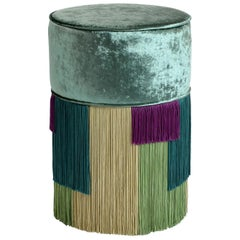 Couture Green Pouf with Geometric Fringe by Lorenza Bozzoli Design