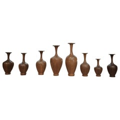 Set of Height Timber Vases, De Coene Frères, 1930s