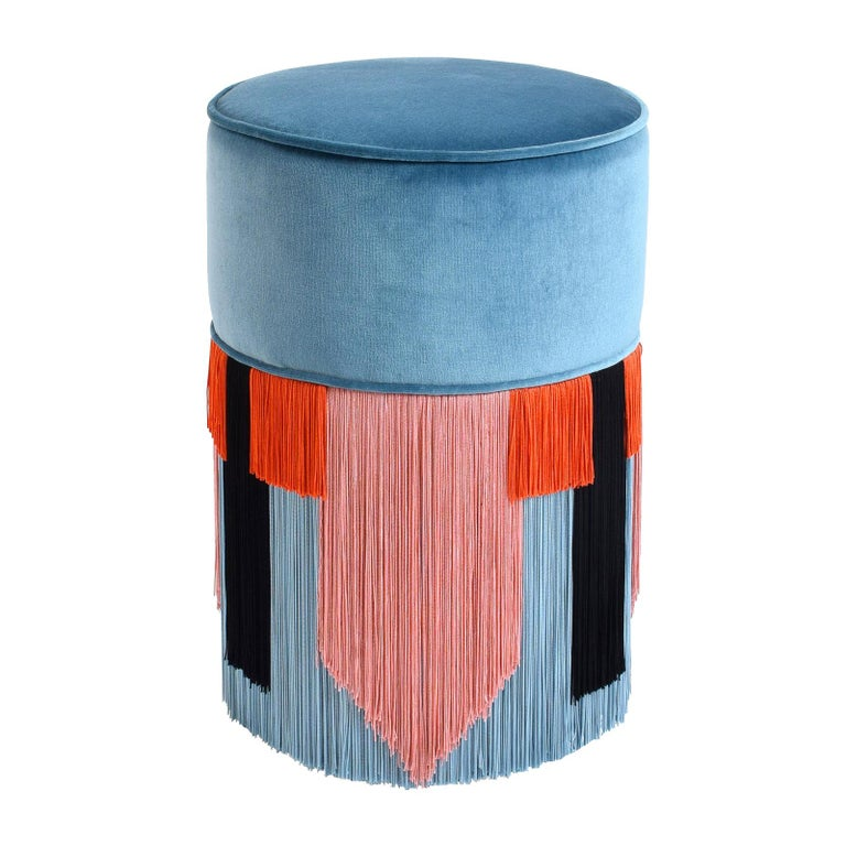 Couture Light Blue Pouf with Geometric Fringe by Lorenza Bozzoli Design For Sale