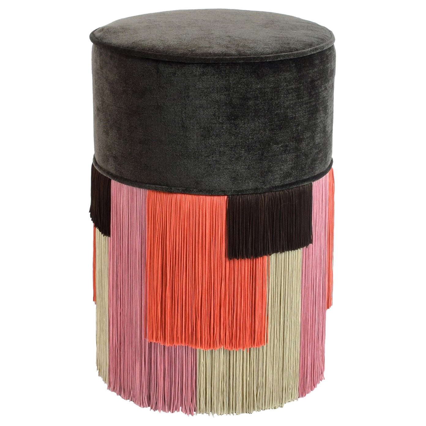 Couture Brown Pouf with Geometric Fringe by Lorenza Bozzoli Design