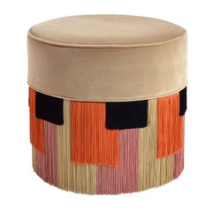 Couture Beige Pouf with Geometric Fringe by Lorenza Bozzoli Design