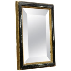 Ebonized and Gilt Framed French Double Bevelled Small Mirror, Late 19th Century