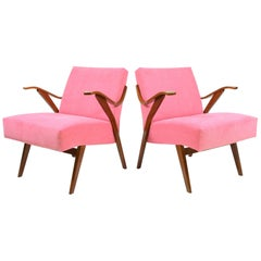 Set of Two Vintage Armchairs in Pink, Czechoslovakia, 1960s