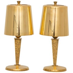 Pair of Hollywood Regency Table Lamps in Gilt Bronze by Genet & Michon