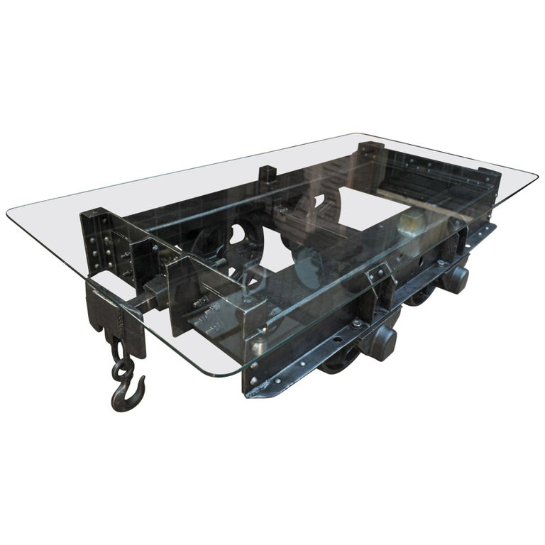 Industrial Riveted Iron Wagon Coffee Table, 1900 For Sale