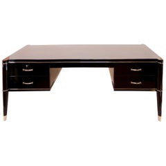 Stately De Coene Freres Desk with Chique Black Gloss Finish, Belgium, 1950s