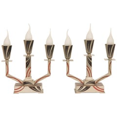 Pair of Art Deco Triple Candelabras by M. Offner