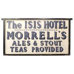 Large Mid-20th Century Original Hand Painted Hotel Trade Sign, Blue and Cream