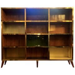 Late 20th Century Cherry Wood & Multicolor Murano Opaline Glass Bookcase