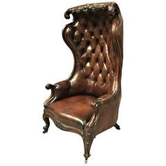 Victorian Mahogany and Leather Hall Porters Chair / Wing Chair