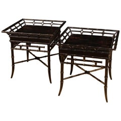 20th Century Black Lacquered Chinoiserie Wood, Metal French Coffee Tables, 1970