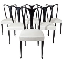 Set of Six Dining Chairs, Attributed to Guglielmo Ulrich, Italy 1940s