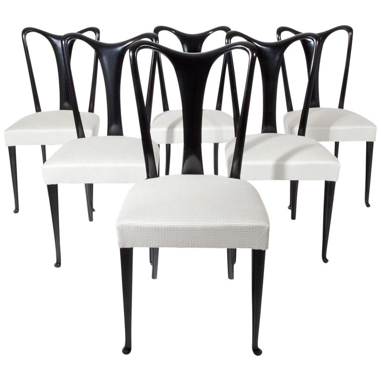 Set of Six Dining Chairs, Attributed to Guglielmo Ulrich, Italy 1940s 1
