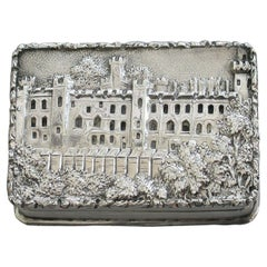 Early Victorian Silver Castle-Top Vinaigrette - Warwick Castle By N Mills 1838
