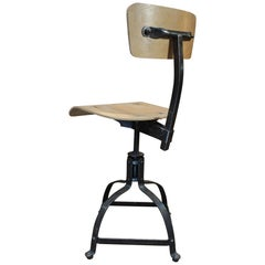 "French ""Bienaise"" Swiveling and Adjustable Industrial Metal and Wood Chair, 1960"