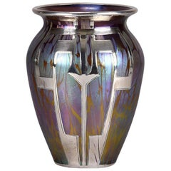 "Art Nouveau Iridescent ""Secessionist Silvered Vase"" by Johann Loetz"