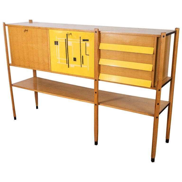 Roberto Aloi Oakwood and Abstract Pattern Printed Plastic Italian Highboard For Sale