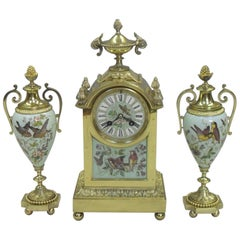 French Belle Epoque Brass and Porcelain Mantel Clock Set
