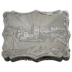 Victorian Silver Engraved Vinaigrette - Harbour Scene By Nathaniel Mills 1846