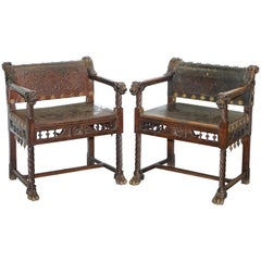 Pair of Italian Walnut Armchairs Lion Heads Hairy Paw Feet Leather, circa 1840
