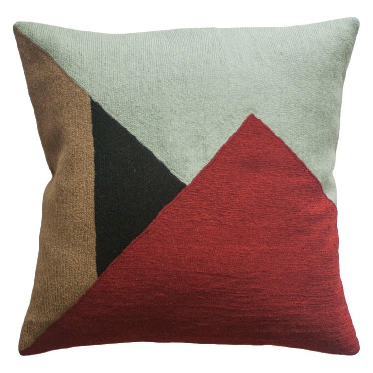 Modern Renzo Scarlet Hand Embroidered Geometric Throw Pillow Cover For Sale