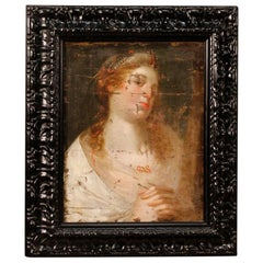 18th Century Oil on Canvas Antique Italian Painting Female Character, 1780