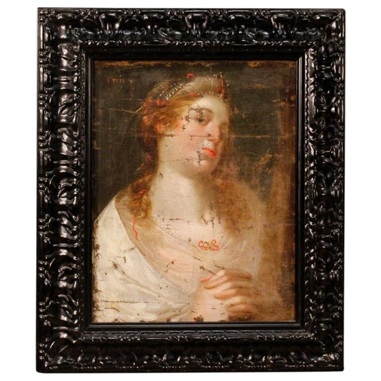 18th Century Oil on Canvas Antique Italian Painting Female Character, 1780 For Sale