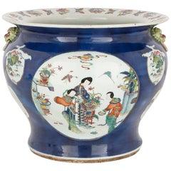 Antique Chinese Blue Parcel Gilt Porcelain Jardinière Vase