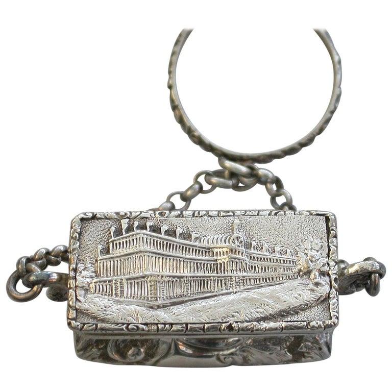 Victorian Silver Castle-Top Reticule Vinaigrette - Crystal Palace J Tongue 1851 For Sale