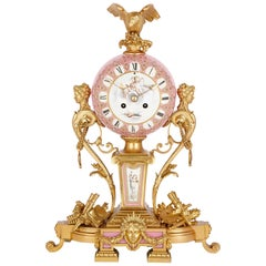 Antique Sèvres Style Gilt Bronze Mounted Pink Porcelain Clock by Le Roy Et Fils