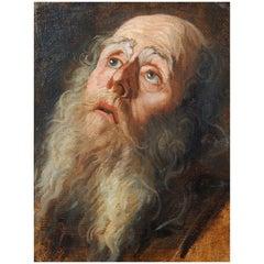 Testa Di Carattere Flemish School 17th Century Oil on Panel Portrait Painting