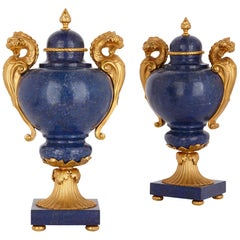 Two Neoclassical Style Lapis Lazuli and Gilt Bronze Vases