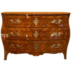 Italian Louis XV Period Walnut and Marquetry Serpentine Commode, circa 1750