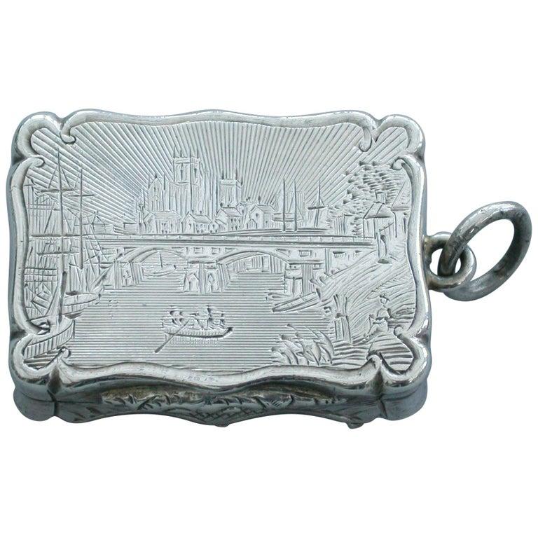 Victorian Silver Castle-Top Vinaigrette - Selby Bridge & Abbey 1852 For Sale