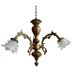 Ornate Downlighter With Floral Shades