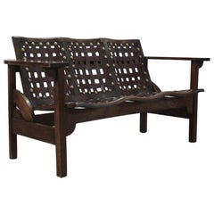 1950s Spanish Folding Bench in Beech and Leather
