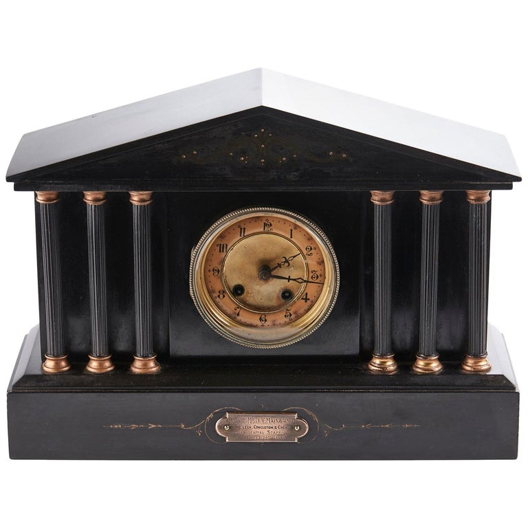 Antique Victorian 8 Day Marble Mantle Clock For Sale