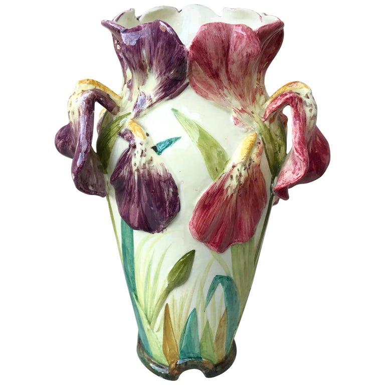 French Majolica Iris Vase Delphin Massier, circa 1880 For Sale