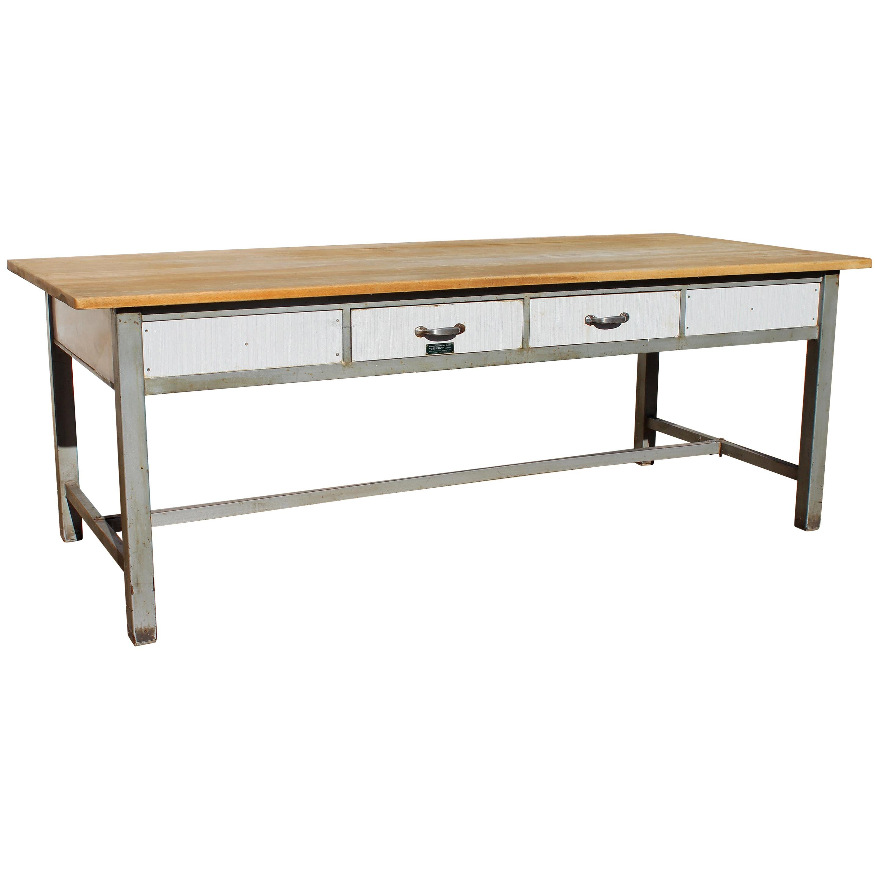 1980s Spanish Bakery Work Table with Steel Legs