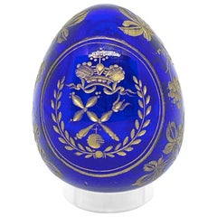 Vintage Faberge Russia Style Glass Egg with Etched Royal Crown