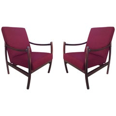 Midcentury unique bentwood armchairs in wine color, Poland, 1960s