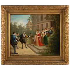 Painting, Outdoor Scene, Staircase Descent a Petie Marquis, Napoleon III