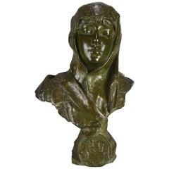 Art Nouveau Bronze Bust 'Dalila' by Emmanuel Villanis
