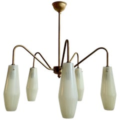 Mid-Century Chandelier with Striped Conical Glass Shades